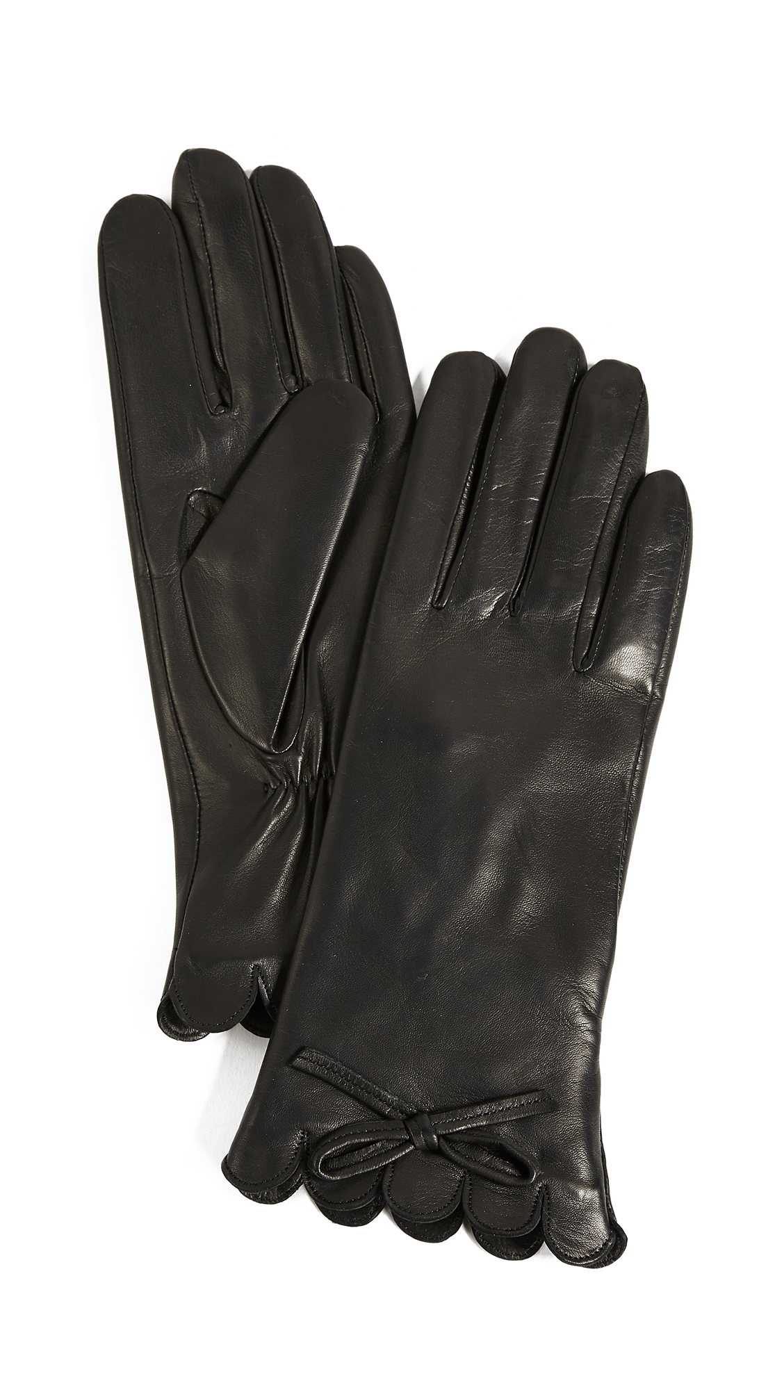 Kate Spade New York Scallop Leather Gloves - Black