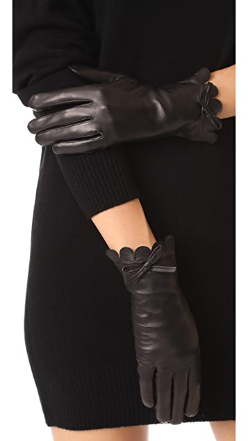 Kate Spade New York Scallop Leather Gloves