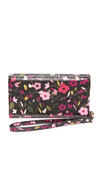 Kate Spade New York Boho Floral Envelope iPhone 7 Wristlet - Black Multi
