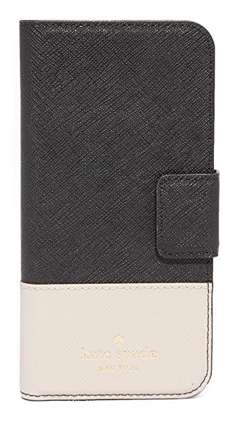 Kate Spade New York Leather Wrap Folio iPhone 7 Case / 8 Case In Black/Tusk