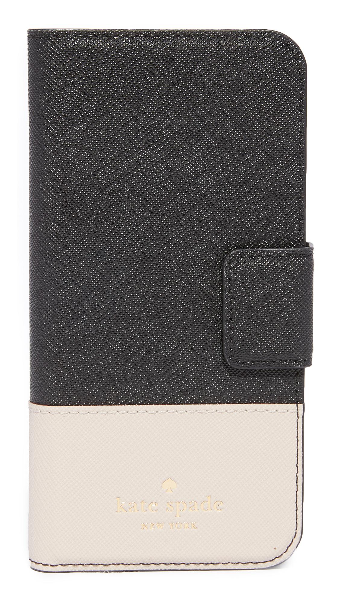 Kate Spade New York Leather Wrap Folio iPhone 7 Case / 8 Case - Black/Tusk