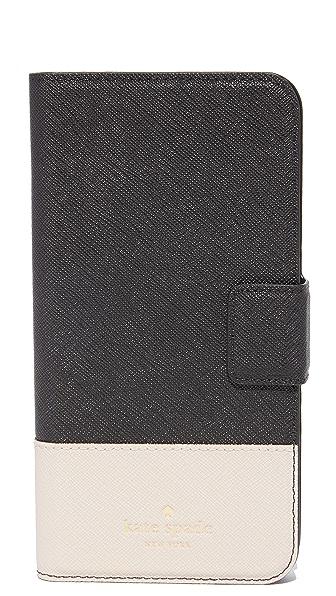 Kate Spade New York Leather Wrap Folio iPhone 7 Plus Case - Black/Tusk