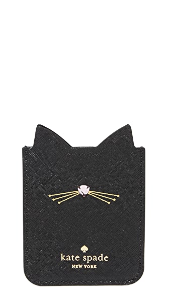 Kate Spade New York Embellished Cat Adhesive Phone Pocket In Black