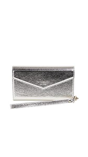 Kate Spade New York Metallic Envelope iPhone 7 / 8 Wristlet In Platino