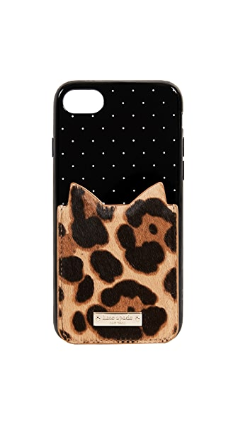 Kate Spade New York Leopard Adhesive Phone Pocket In Multi