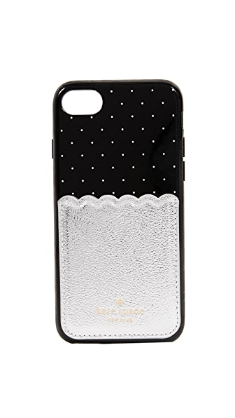 Kate Spade New York Metallic Scallop Adhesive Phone Pocket In Platino