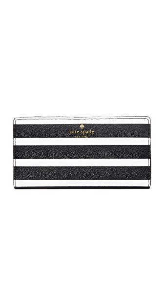 Kate Spade New York Hyde Lane Stripe Stacy Wallet - Black/Cream