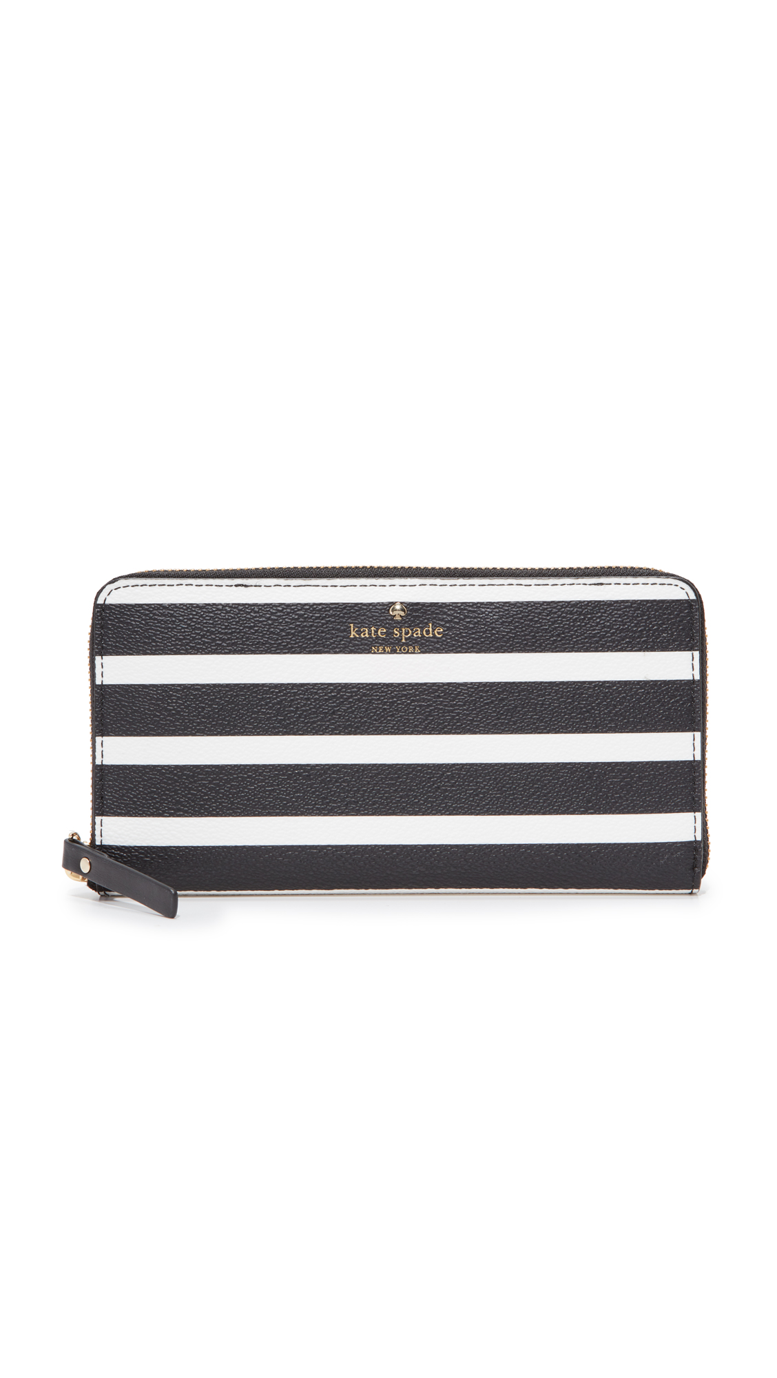 Kate Spade New York Hyde Lane Stripe Michele Zip Around Wallet - Black/Cream