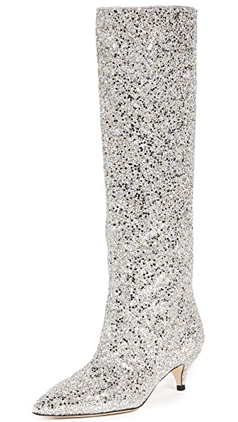 Kate Spade New York Olina Kitten Heel Boots In Silver/Gold