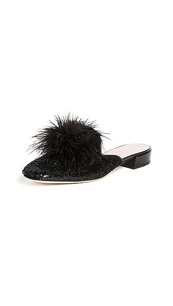 Kate Spade New York Gala Pom Pom Mules In Black