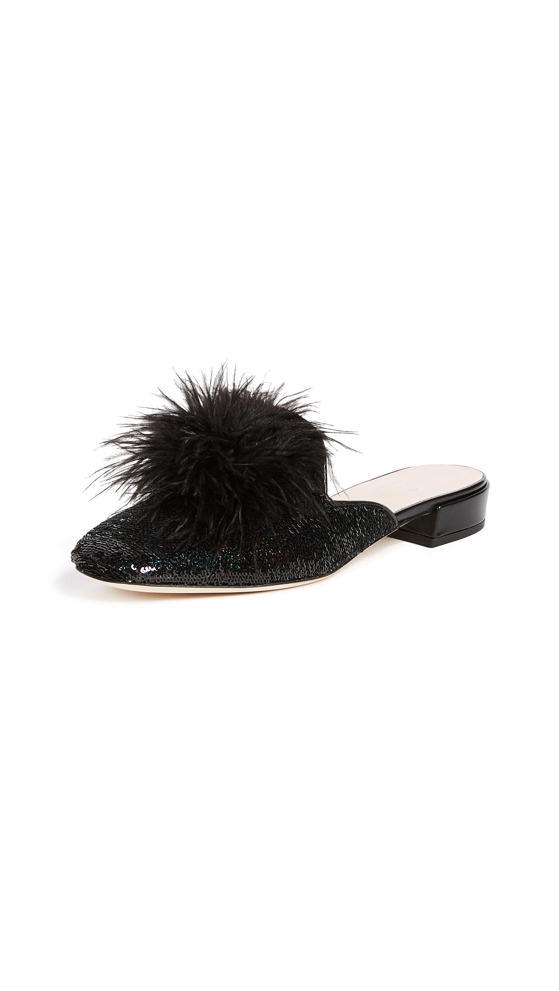 Kate Spade New York Gala Pom Pom Mules - Black