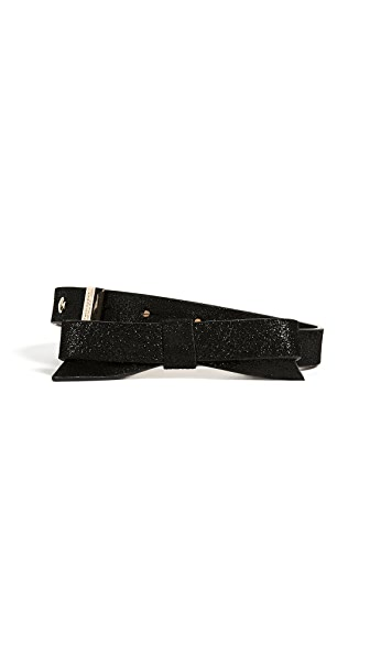 Kate Spade New York Classic Sparkly Bow Belt In Black