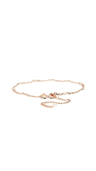 Kate Spade New York Bow & Imitation Pearl Chain Belt In Rose Gold