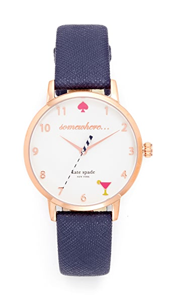 Kate Spade New York Metro Novelty 5 O Clock Watch - Navy/Rose Gold