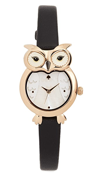 Kate Spade New York Owl Watch, 26mm In Black/Gold