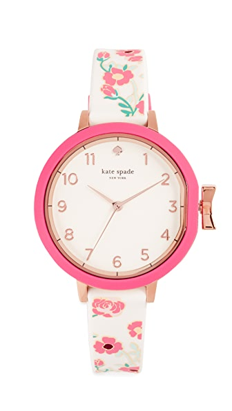 Kate Spade New York Park Row Floral Watch, 34mm In Pink/White/Rose Gold