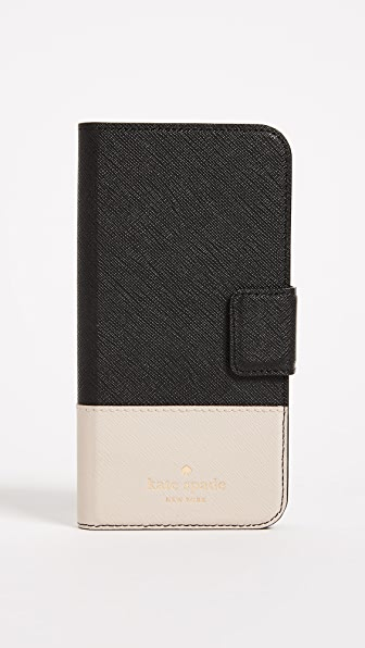 Leather Wrap Folio Iphone X / Xs Case in Black/Tusk