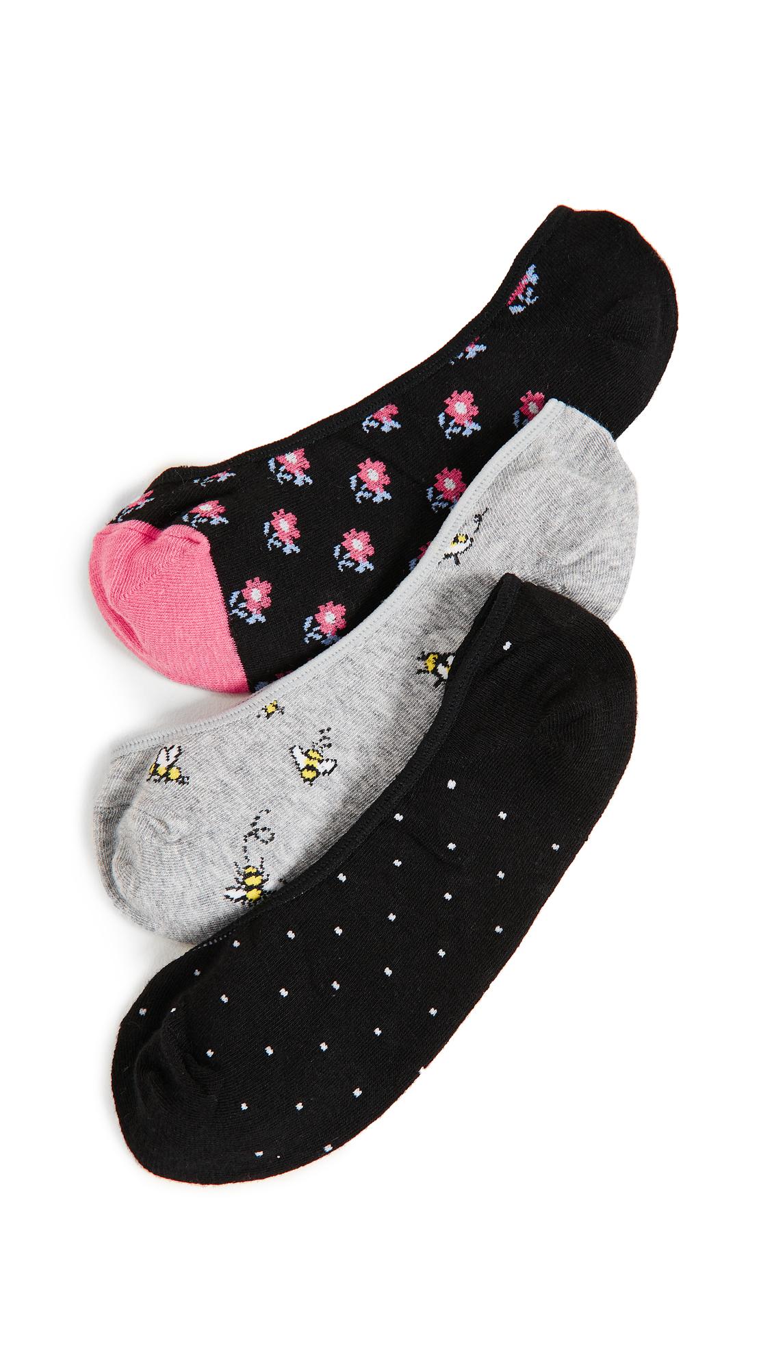 1e81d14c1398 Kate Spade A Buzz 3 Packk Liner Sock Set In Light Gray Melange ...