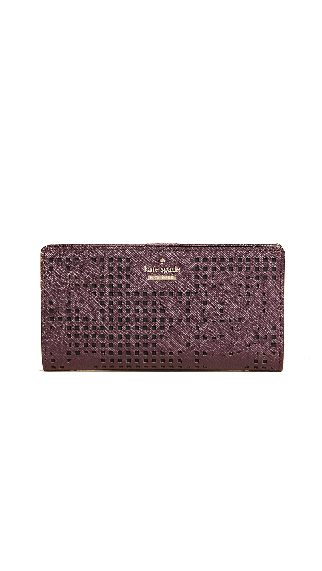 Kate Spade New York Cameron Street Perforated Stacy Wallet - Deep Plum