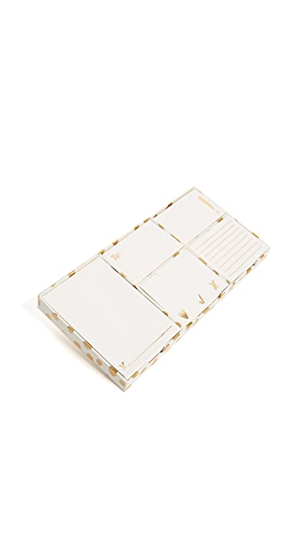 Kate Spade New York Flamingo Dot Sticky Note Set In Gold