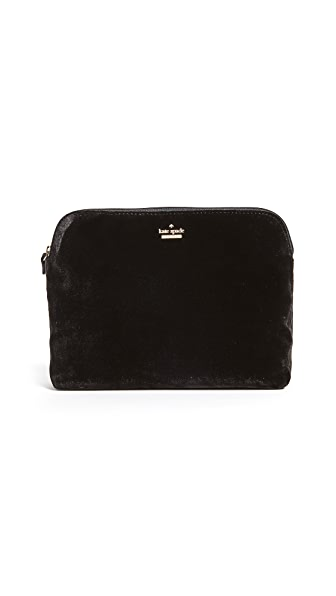 Kate Spade New York Watson Lane Briley Velvet Makeup Bag In Black