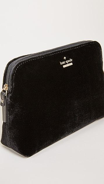 Kate Spade New York Watson Lane Velvet Small Briley Small Makeup Bag