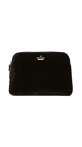 Kate Spade  WATSON LANE VELVET SMALL BRILEY SMALL MAKEUP BAG