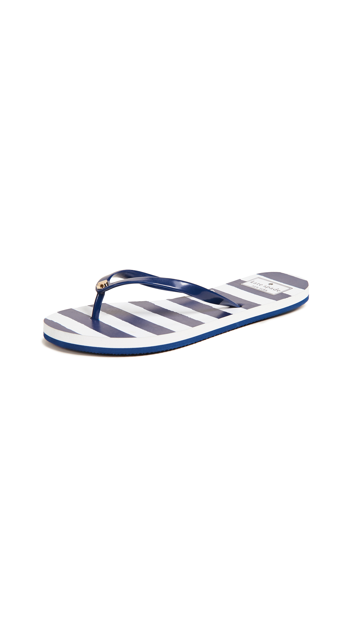 Kate Spade New York Nassau Flip Flops - Navy/White Stripe