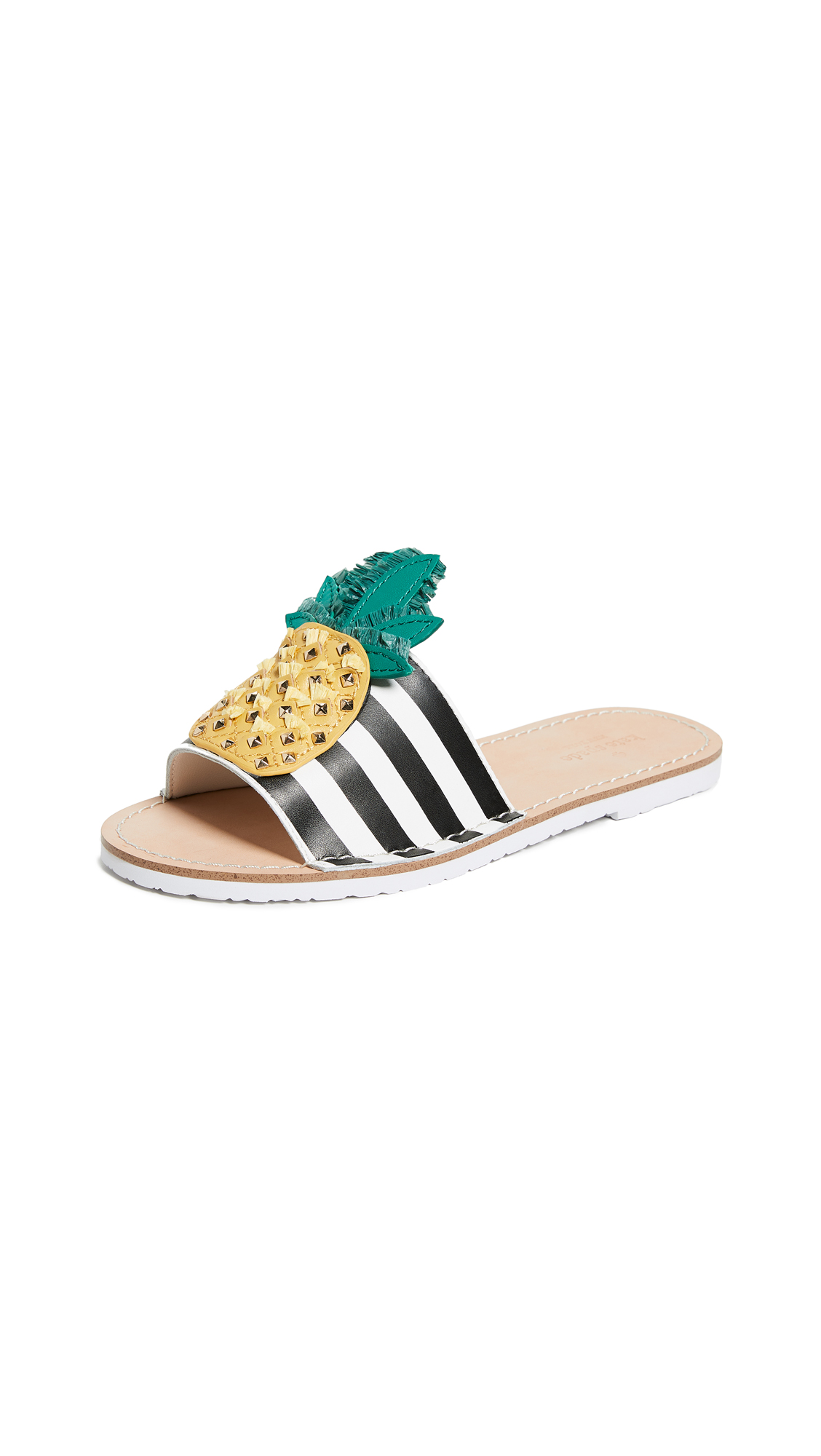 Kate Spade New York Icarus Pineapple Slides - Black/White