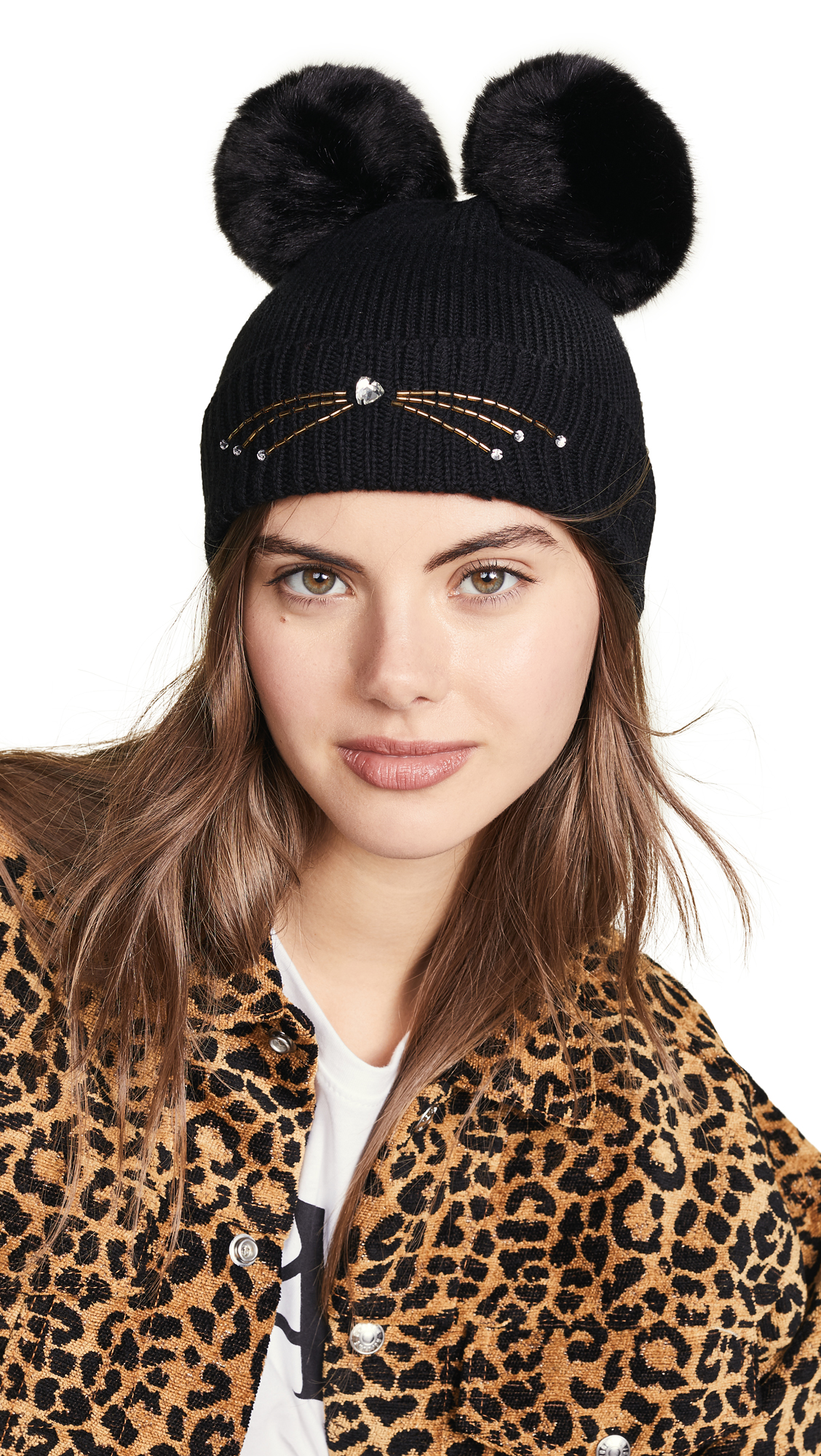 Kate Spade New York Embellished Cat Beanie Hat In Black