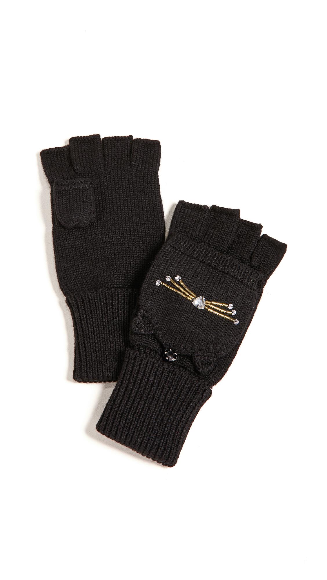 Kate Spade New York Embellished Cat Pop Top Mittens In Black