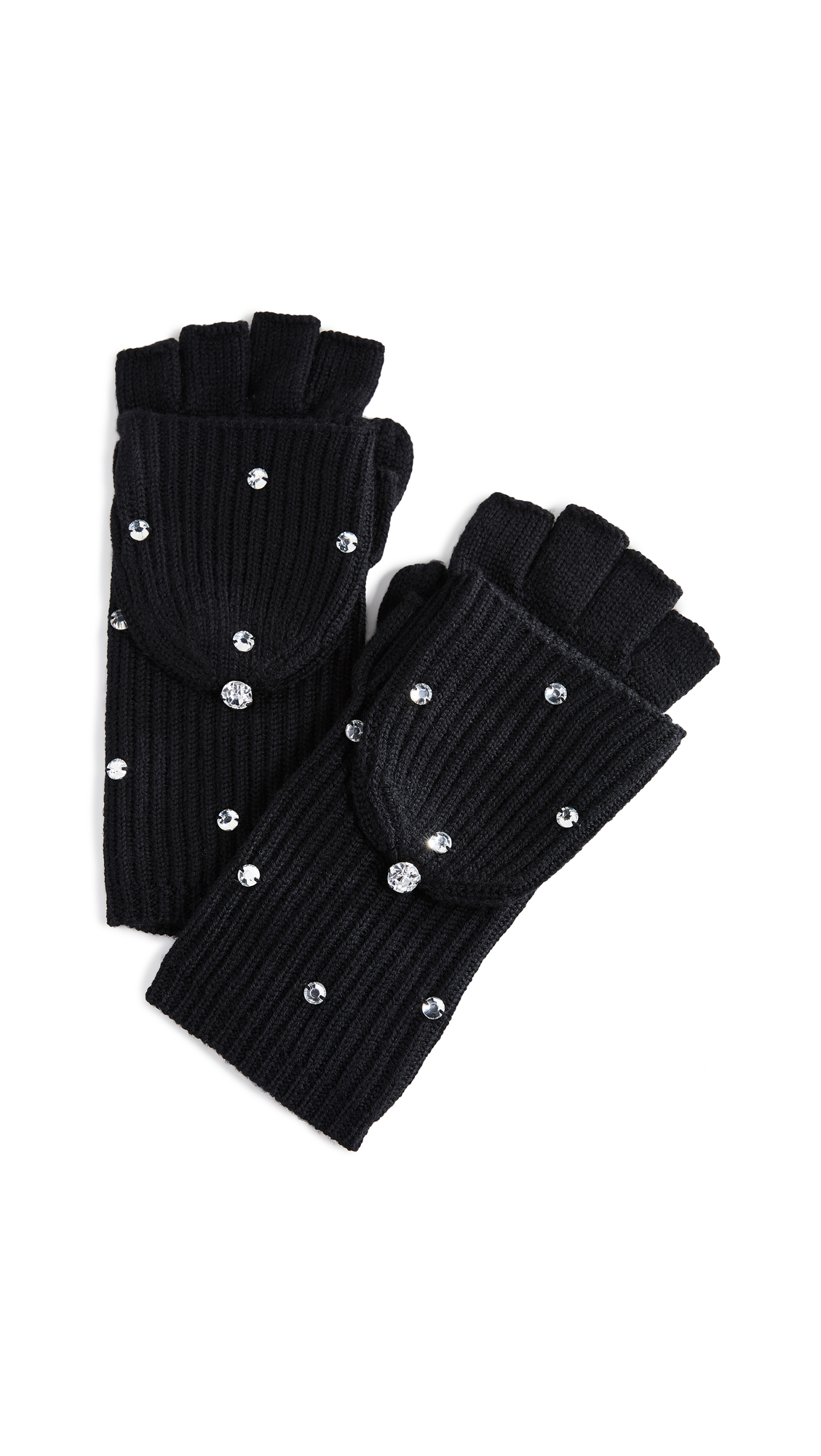 Kate Spade New York Bedazzled Pop Top Gloves In Black/Smoke