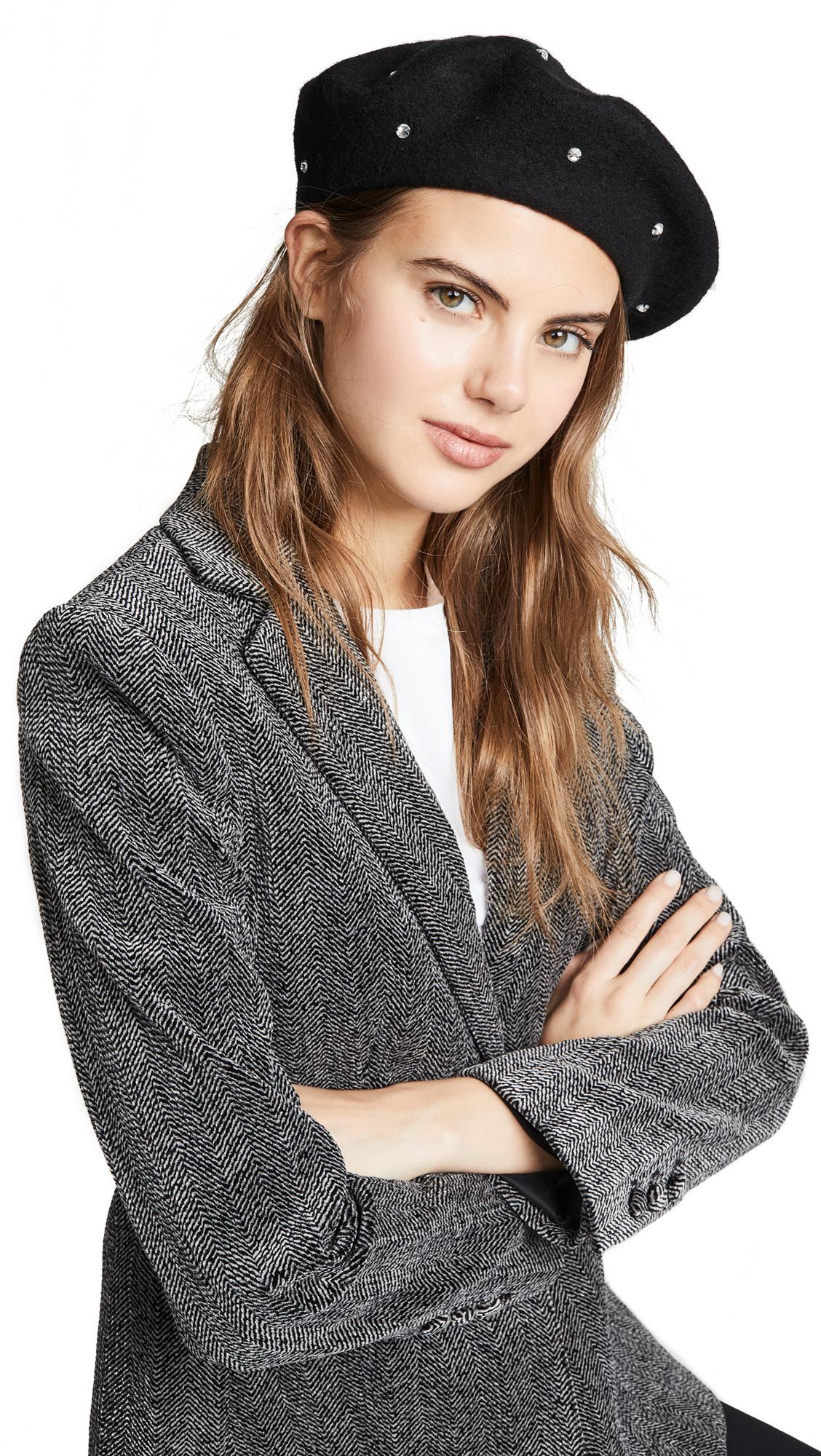 Kate Spade Bedazzled Beret Hat In Black Smoke  6b9432c004d