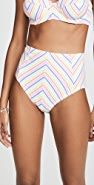 Kate Spade New York Beach Stripe High Waist Bikini Bottoms