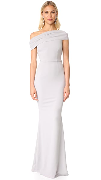 Katie May Layla Asymmetrical Off the Shoulder Dress In Dove