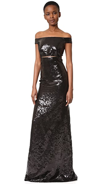 KAUFMANFRANCO Sequin Off the Shoulder Gown