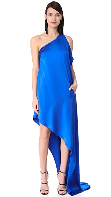 KAUFMANFRANCO One Shoulder Asymmetrical Gown