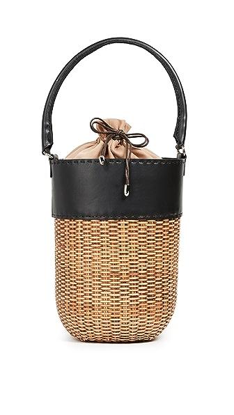 Kayu Lucie Wicker Bucket In Black/Natural