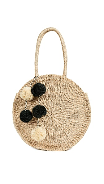Kayu Sienne Round Tote with Pom Poms In Natural