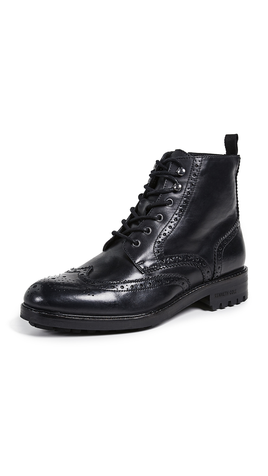 KENNETH COLE Men'S Maraq Leather Wingtip Boots in Black