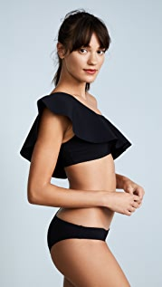 Karla Colletto Zaha One Shoulder Bikini Ruffle Top