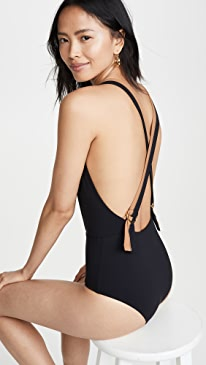 57880f40eb Karla Colletto. Katherine Plunge Neck One Piece