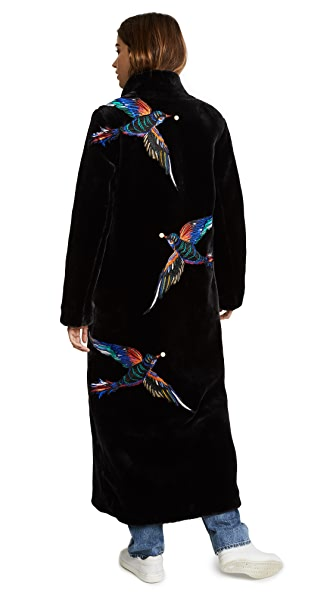 Katya Dobryakova Birds Eco Fur Long Coat at Shopbop