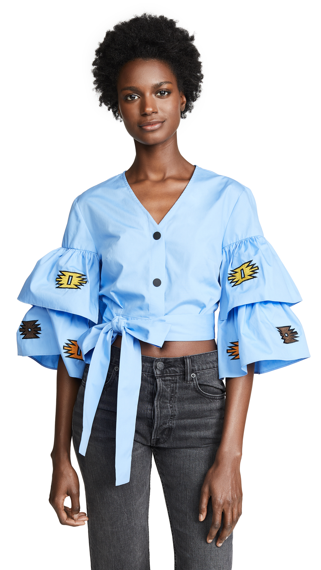 KATYA DOBRYAKOVA SHARP ZIGZAG ORNAMENT CROP SHIRT