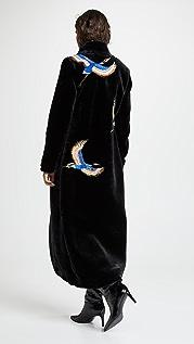 Katya Dobryakova Пальто Cranes Eco из искусственного меха с блестками