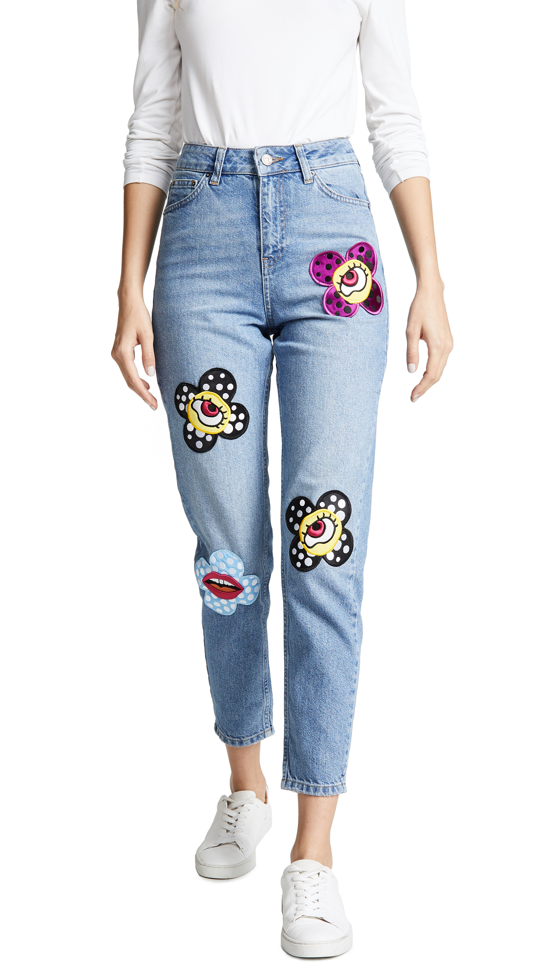 KATYA DOBRYAKOVA Flower Eyes Jeans in Light Blue