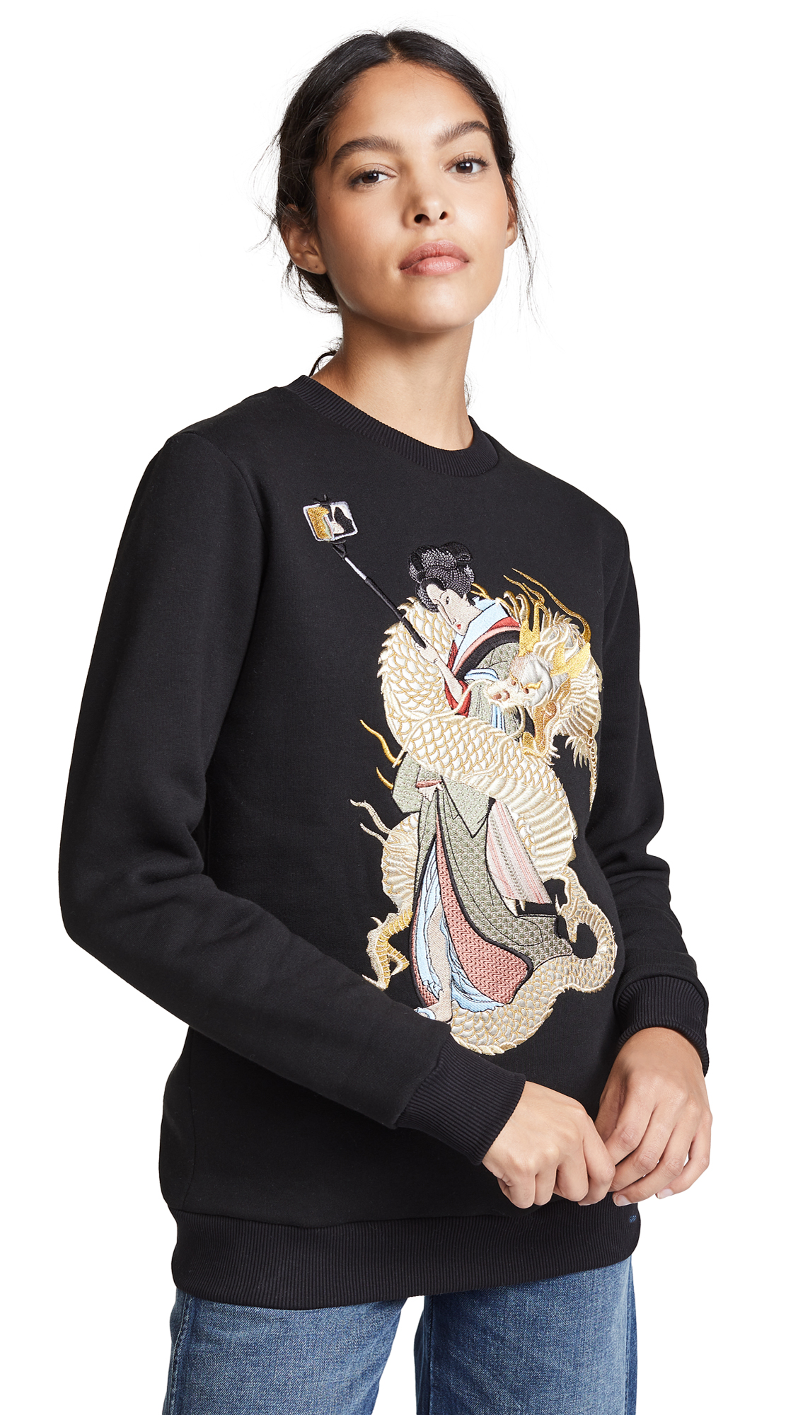 KATYA DOBRYAKOVA Girl With Dragon Sweatshirt in Black