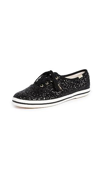 KEDS X Kate Spade New York Women'S Kickstart Glitter Lace Up Sneakers in Black
