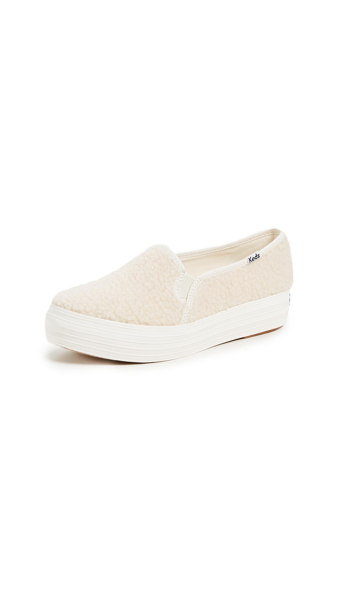 KEDS Triple Decker Sherpa Sneakers in Cream