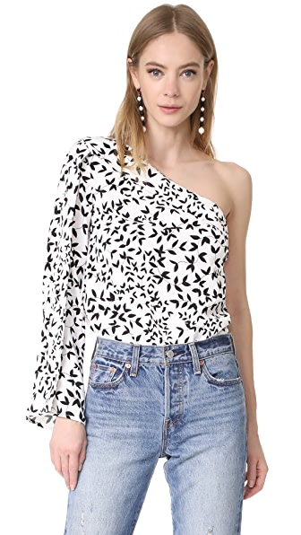 Keepsake Overpowered One Shoulder Top - Light Ivy Print